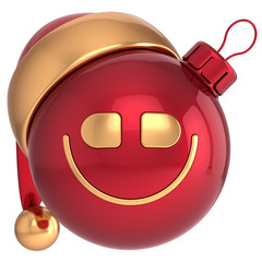 Smiling Christmas ball New Year smile bauble Santa smiley face