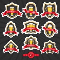 Set of designed beer labels