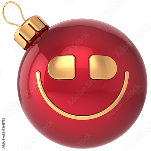 Smiling Christmas ball smiley New Year bauble smile face