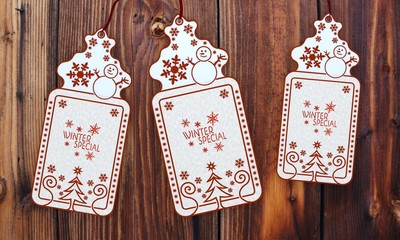 three christmas cards with winter special sticker