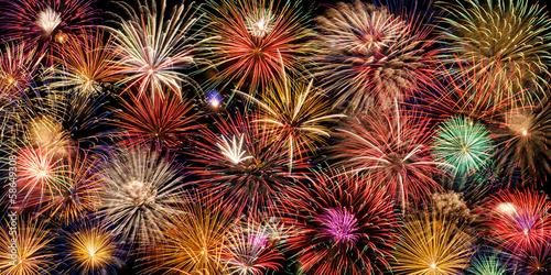 Fototapeta Festive and colorful fireworks display