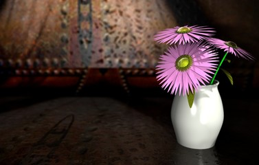 3D Illustration of a Vase of Flowers on an Industrial Background