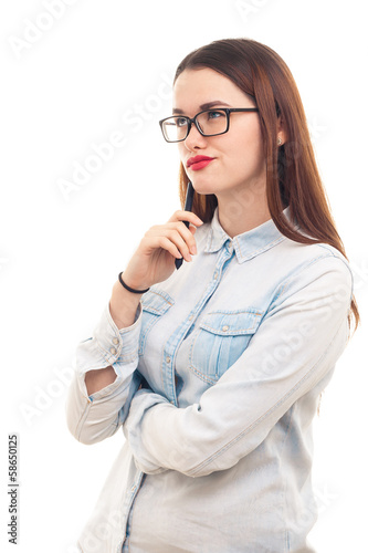 Young girl in glasses on white background