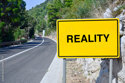 Reality in street sign on motorway