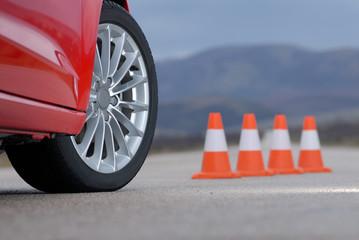 sport wheel and cones