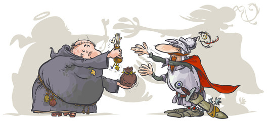 Monk, selling  a holy relics to a Knight.