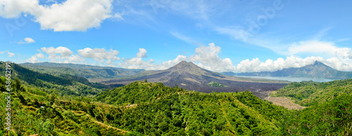Panoramic view of Batur volcano in the sunshine day