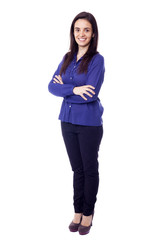 Full body portrait of happy smiling young business woman, isolat