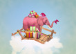 Pink elephant with Christmas boxes.  Illustration