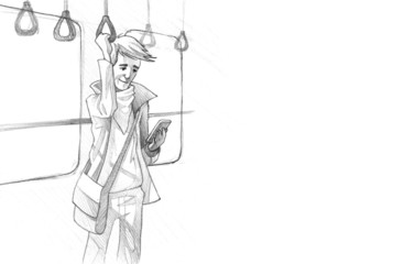 Pencil Drawing of Young man traveling on metro