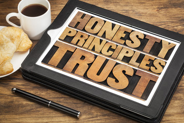 honesty, principles and trust