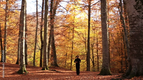 attractive man running at forest in autumn season