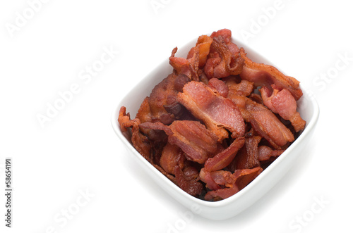 Canadian smoked bacon mini stripes in a white ceramic bowl
