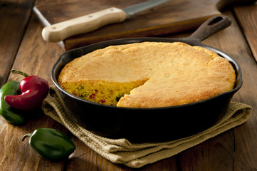 corn bread with chilies and jalapeno peppers