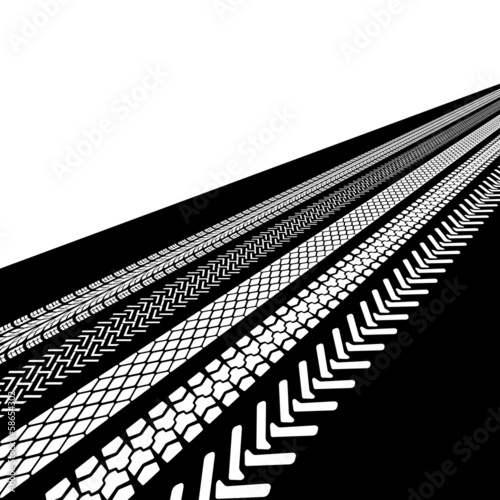 tire prints, vector illustration