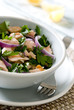 salmon salad with parsley, capers and red onions