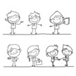 set of hand drawing cartoon character happy business person