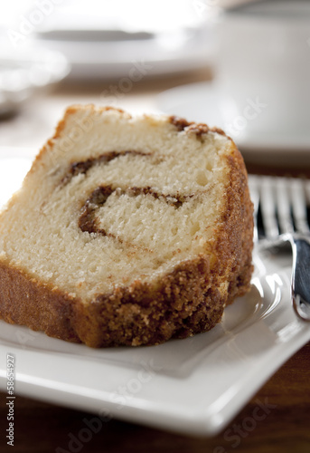 piece of cinnamon swirl cake in a cafe.