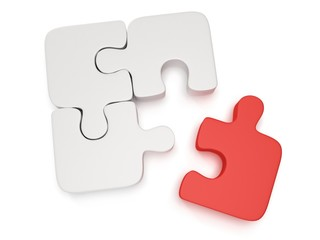 3d white and red puzzle on white