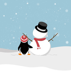 Snowman with penguin