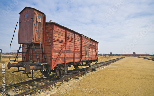 Deportation wagon at Auschwitz Birkenau at concentration camp, P