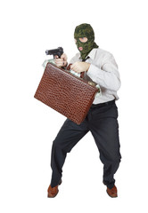 Robber with a gun and suitcase full of money
