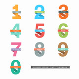 Vector Set of Flat Design Numbers 0-9 with Ribbons