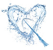 Water splash heart on white background