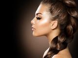 Hair Braid. Beautiful Woman with Healthy Long Hair - 58659562