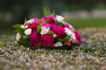 Blumenstrauß in der Hecke