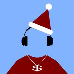 hip hop man wearing santa hat