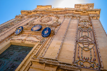 Low angle shot of the St George Basilica in Victoria, Malta