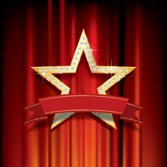 golden star velvet banner