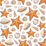 Artistic seamless pattern with watercolor shells and sea star il