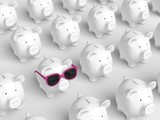Piggy bank - grid with pig with pink sunglasses