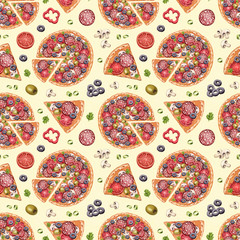 Seamless pattern with pizza illustrations