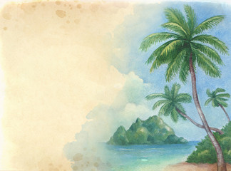 Watercolor background with illustration of the tropical beach