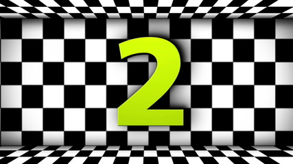 Countdown and FINISH Text in Checker Flag Door