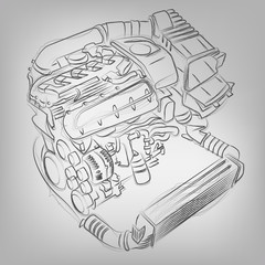 Vector sketched engine