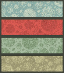 vintage color christmas banners, vector