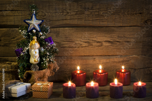 Christmas vintage tree abstract background with candles