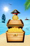 bird pirate over treasure chest