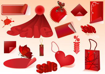 Sat of red sale vector design elements isolated.