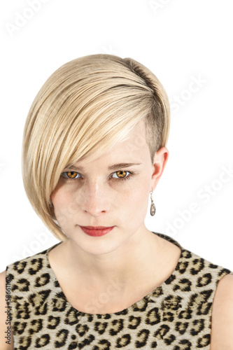 Leopard woman piercing look