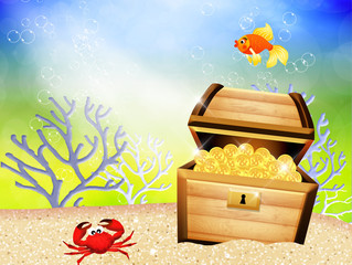 the treasure chest at the bottom of the sea