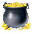Cauldron full of gold coins
