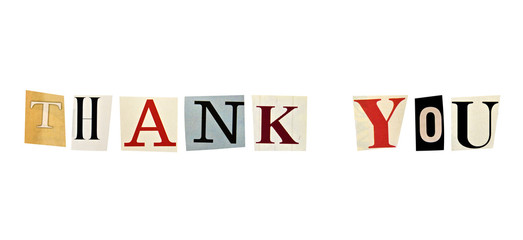 The phrase Thank You formed with magazine letters