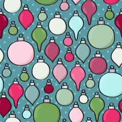 Seamless background tile with cartoon baubles over polkadots