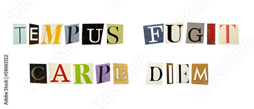 The phrase Tempus Fugit, Carpe Diem formed with magazine letters