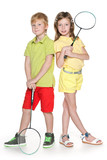 Children with badminton racket